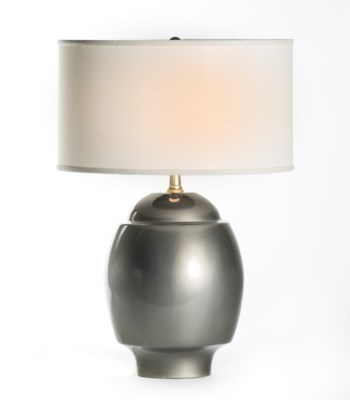 """Maria Table Lamp in Mercury with 18"""" White/White Drum Shade"""
