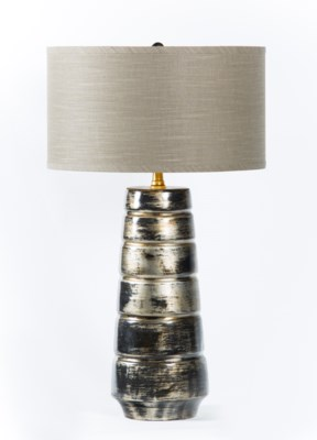 "Madison Table Lamp in Oiled Steel Finish w/ 18"" Grey/Gold Drum Shade"