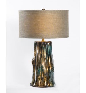 "Austin Table Lamp in Havana Finish w/ 18"" Grey/White Drum Shade"