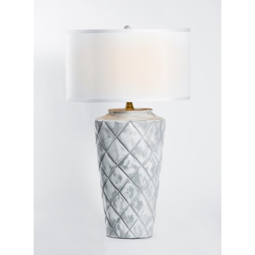 """Tylor Table Lamp in Patagonia Finish w/ 18"""" Grey/White Drum Shade"""