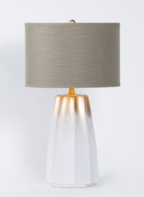"Joseph Table Lamp in Winter White Finish w/ 15"" Grey/Gold Drum Shade"
