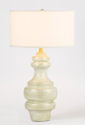 """Charlotte Large Ringed Table Lamp in Weathered Stone Finish with 18"""" Drum Shade in White/White"""