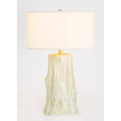 """Austin Tabe Lamp in Weathered Stone Finish with 18"""" Drum Shade in White/White"""