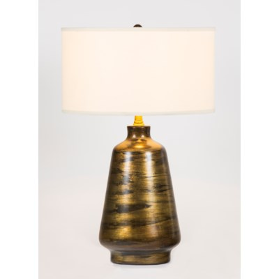 """Victoria Table Lamp in Drifting Sand Finish with 18"""" Drum Shade in White/White"""