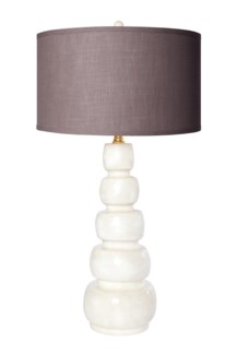 """Juliet Table Lamp in Pearl Finish with 18"""" Drum Shade in Putty Grey/Gold"""