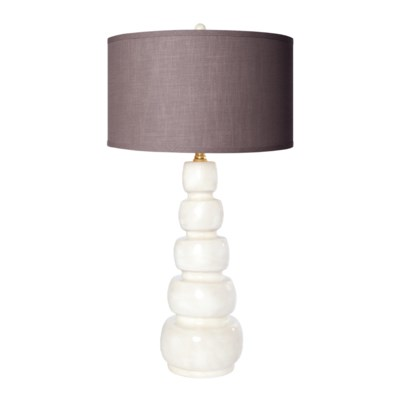 """""""Juliet Table Lamp in Pearl Finish with 18"""""""" Drum Shade in Putty Grey/Gold"""""""
