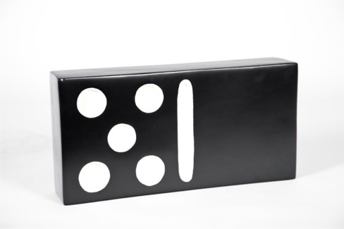 Large Domino in Black with White Dots