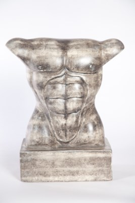Male Torso Sculpture in London Sky Finish