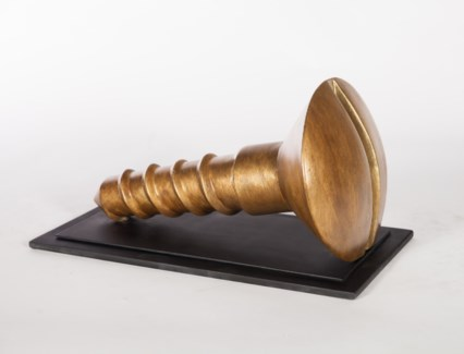 Vintage Screw Sculpture w/stand in Warm Stone Finish