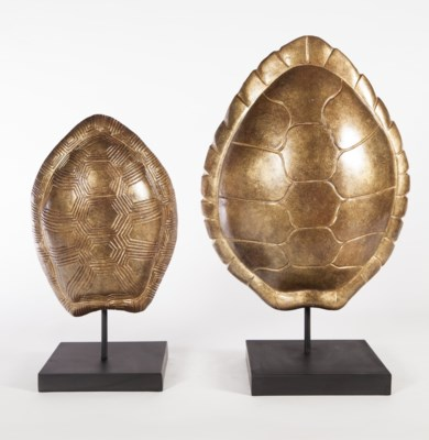 Small Turtle Shell Sculpture w/ Stand in Mesa Gilt Finish