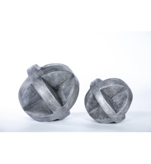 """""""Large """"""""X"""""""" Floor Sphere in Silver Cast Finish"""""""