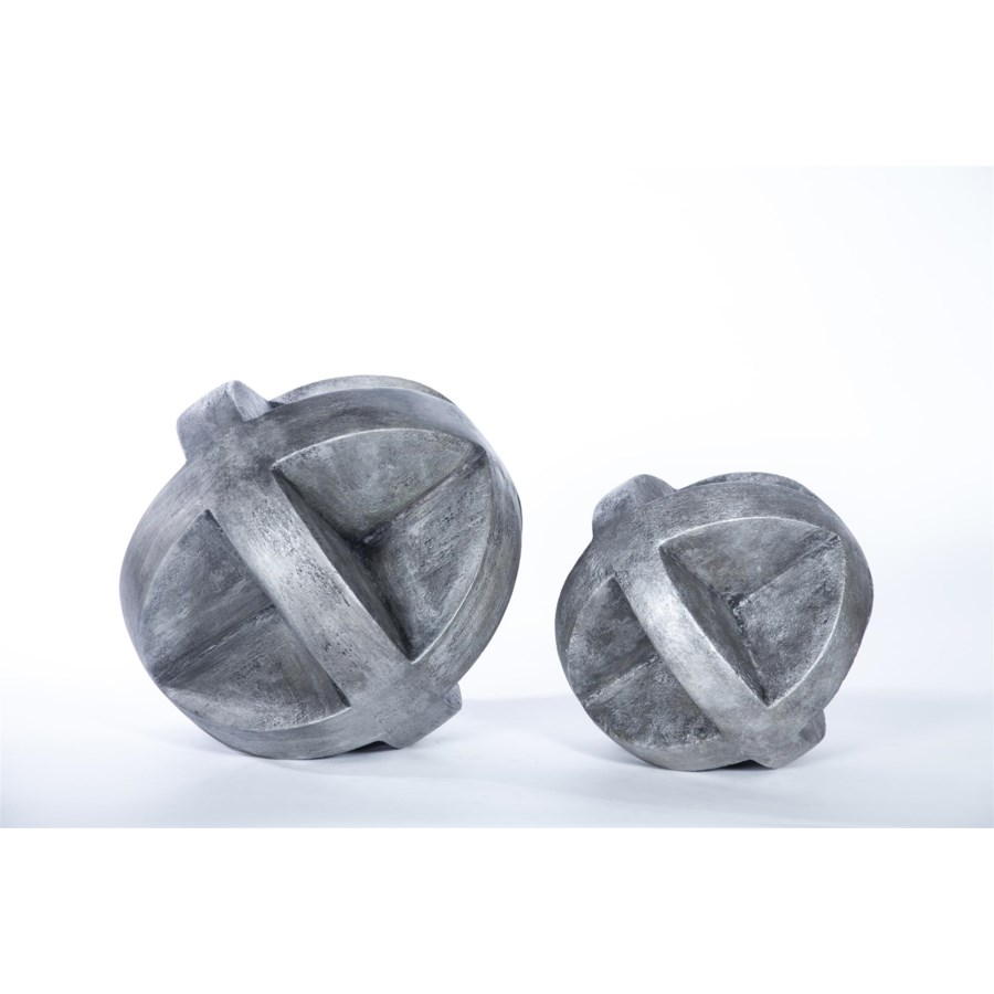"""Large """"X"""" Floor Sphere in Silver Cast Finish"""