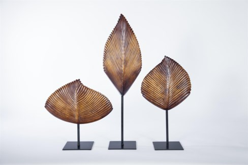 Large Leaf Sculpture w/ stand in Walnut Finish
