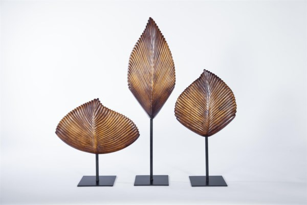 Large Leaf Sculpture w/ stand in Walnut Finish