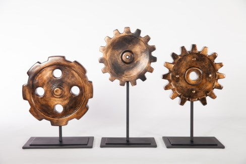 Cog Scultpture w/ Stand in Copperhead Finish