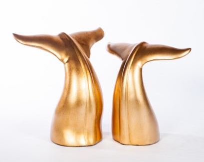 Large Whale Tail Sculpture in Aged Gold