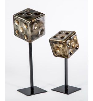 Large Dice on Stand in Oiled Steel Finish
