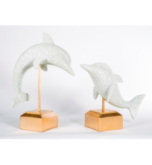 Large Dolphin on Stand in Vintage Blanco Finish