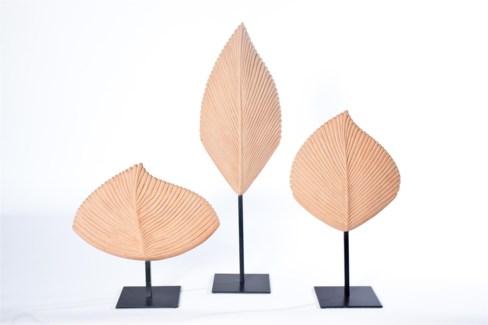 Large Leaf Sculpture in Natural Finish