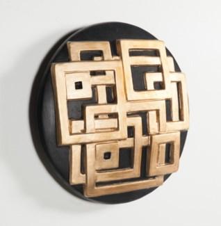 Geometric Wall Art Round in Black Gold