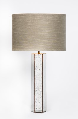 """Henry Table Lamp in Old Mirror with 15"""" Grey/Gold Shade"""