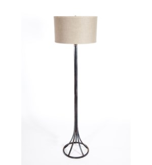 """Tyler Floor Lamp in Fire with 18"""" Drum Shade in Grey w/ Gold"""