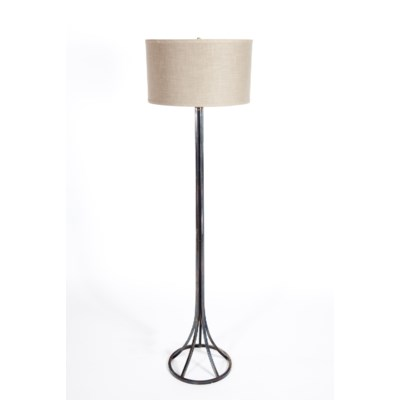 """""""Tyler Floor Lamp in Fire with 18"""""""" Drum Shade in Grey w/ Gold"""""""