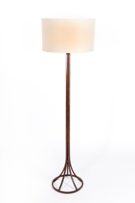 """Tyler Floor Lamp in Rust with 18"""" Drum Linen w/ White"""