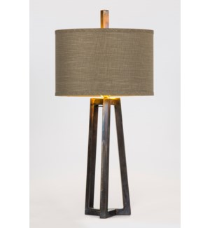 "Victor Iron Table Lamp with 15"" Drum Shade in Grey/Gold"