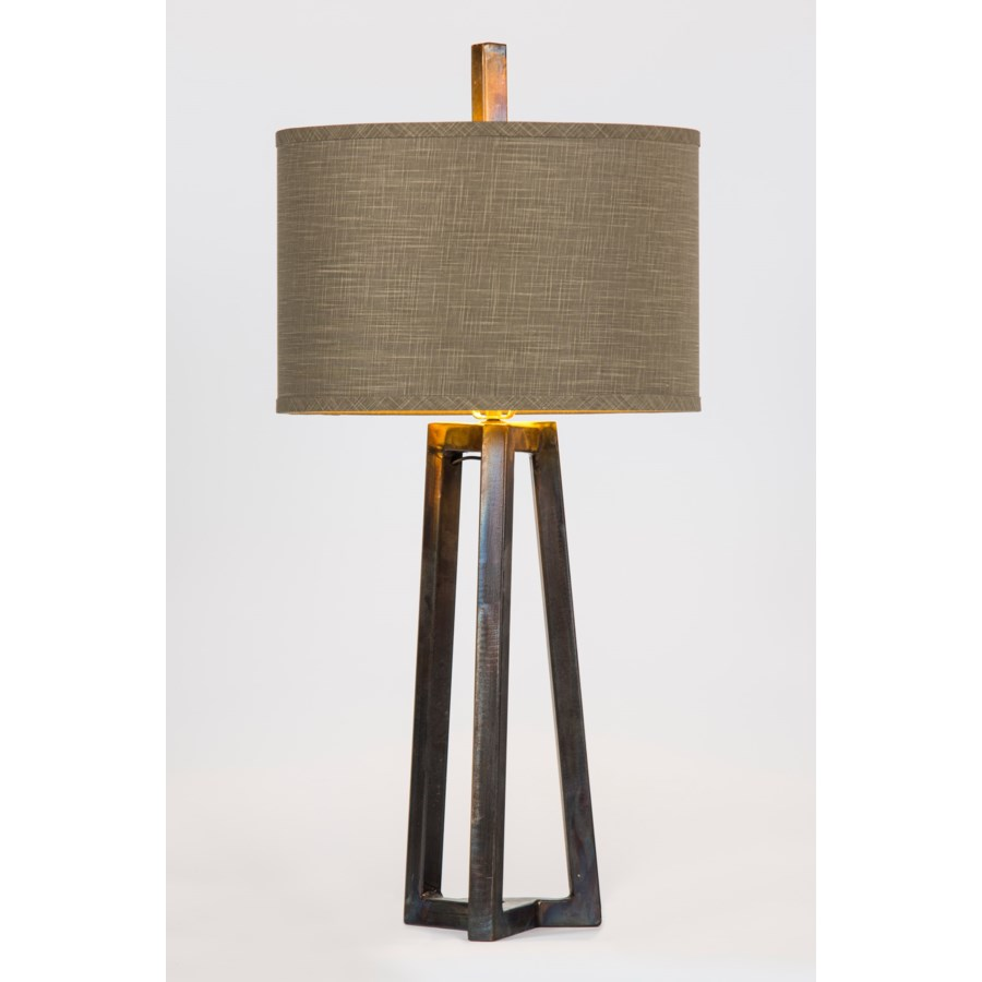 """Victor Iron Table Lamp with 15"""" Drum Shade in Grey/Gold"""