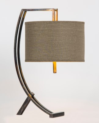 """Loren Iron Table Lamp with 15"""" Drum Shade in Grey/Gold"""
