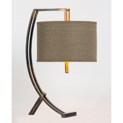 "Loren Iron Table Lamp with 15"" Drum Shade in Grey/Gold"