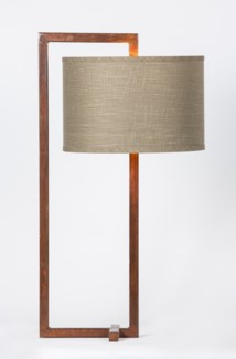 "Dawson Rectangle Iron Table Lamp with 15"" Drum Shade in Grey/Gold"