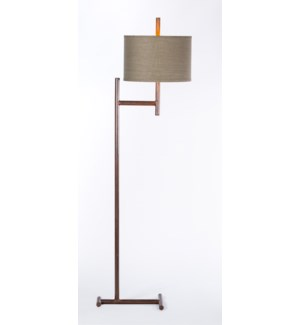 "Parker Iron Floor Lamp with 15"" Drum Shade in Grey/Gold"