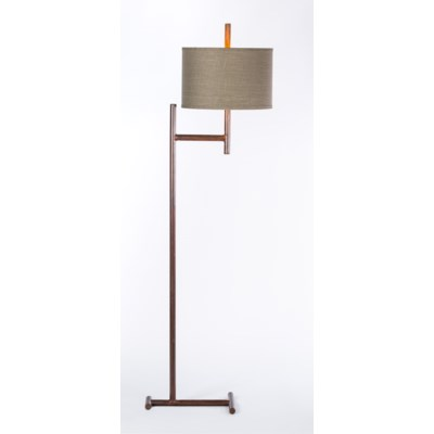 """Parker Iron Floor Lamp with 15"""" Drum Shade in Grey/Gold"""