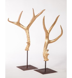 Large & Small Antler Sculptures on Stand in Gold