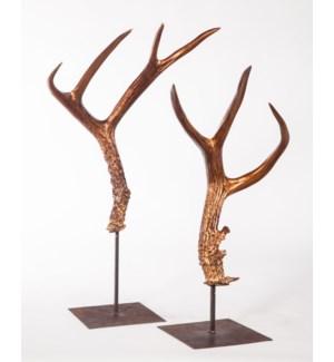 Set of 2 Antler Sculptures on Stand in Bronze