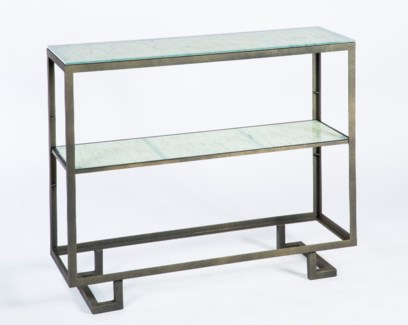 Wallace Console Table in Antique Bronze with Shelves in Wrinkled Linen