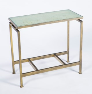 Nelson Accent Table in Antique Bronze with Top in Spiced Cocoa Finish