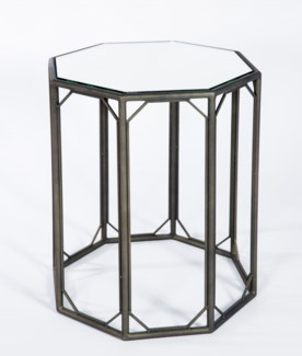 Octagonal Accent Table in Antique Bronze with Mirrored Top
