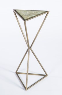 Triangle Accent Table in Antique Brass with Top in Adobe Dust Finish