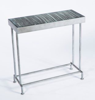 Bernard Console Table in Antique Silver with Inset Glass Top in Black Sand Finish