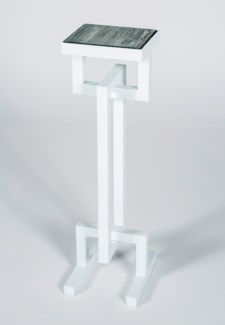 Harriet Accent Table in White with Glass Top in Black Sand Finish
