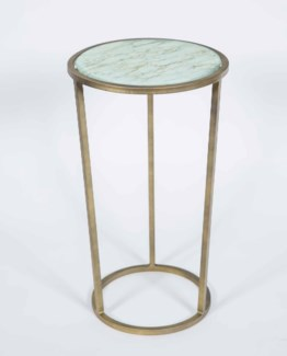 Samuel Accent Table in Antique Brass with Shelf in Wrinkled Linen Finish