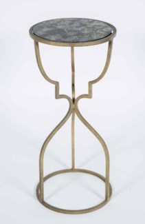 Cora Accent Table in Antique Brass with Shelf in Galaxy Storm Finish