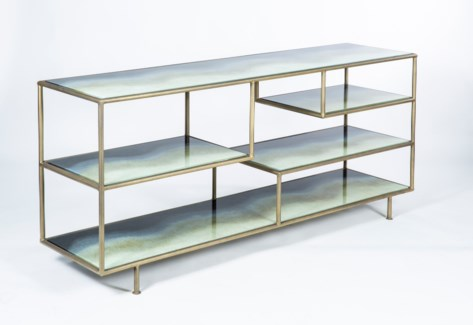 Silas Console Table in Antique Brass with Solid Amethyst