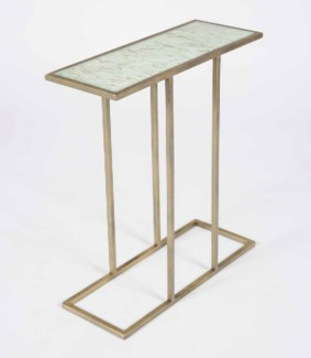 Collin Accent Table in Antique Brass with Glass Top in Wrinkled Linen Finish