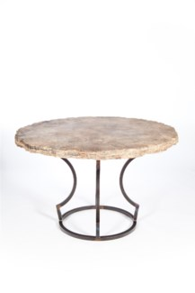 "Charles Dining Table with 48"" Round Marble Top with Live Edge"