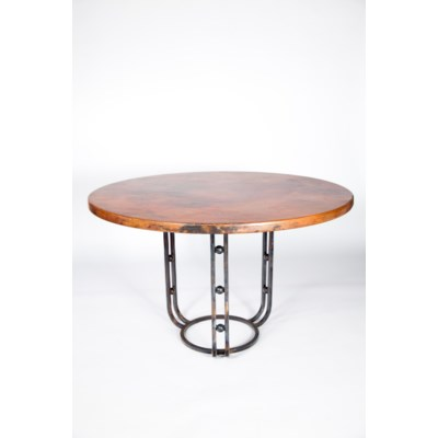 Clayton Dining Table With Round Hammered Copper Top Dining - Hammered copper round dining table