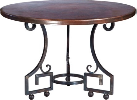 """Kingsley Dining Table with 48"""" Round Dark Brown Hammered Copper Top"""